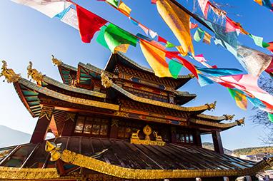 Tibet-Shangri-La-Bουδιστικός ναός Guishan